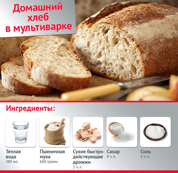 Дрожжевой хлеб в мультиварке рецепты